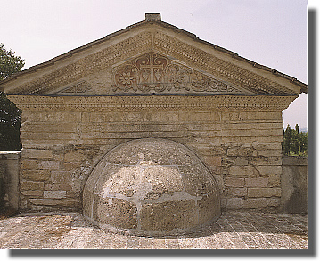 The pediment over the external apse